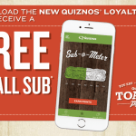 Quiznos Toasty Points App Free 8″ Sub Sandwich or Full Salad