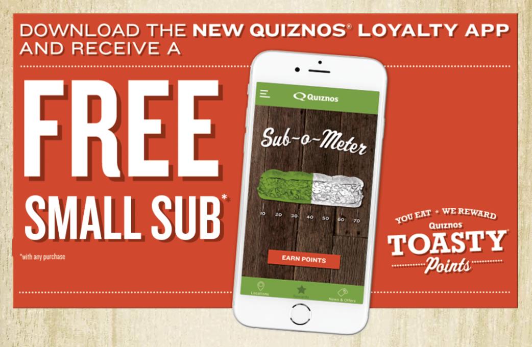 Quiznos Toasty Points App Free Sub Sandwich