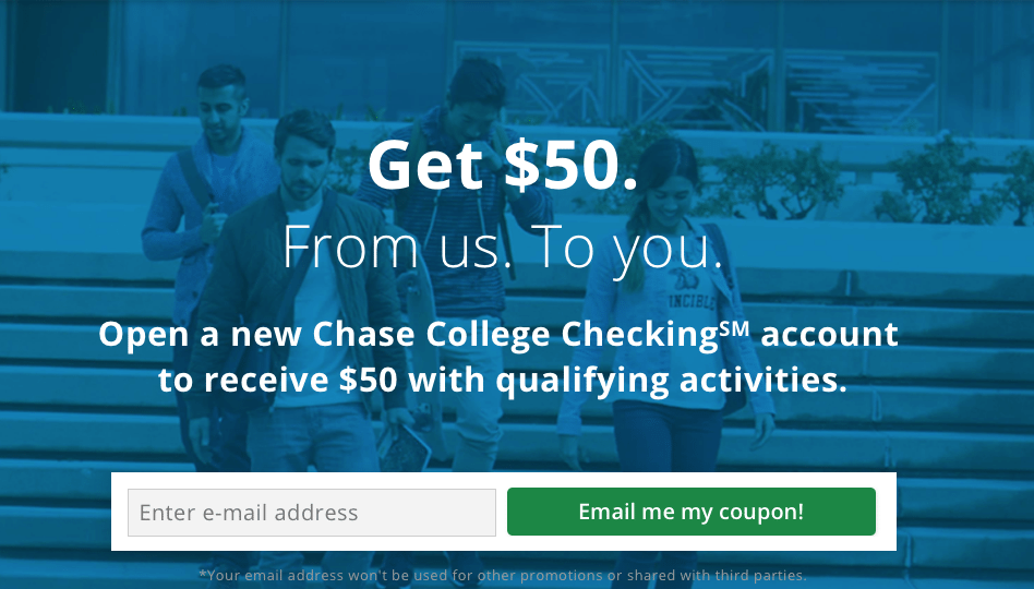 Chase College Checking Account $50 Bonus Offer for Students