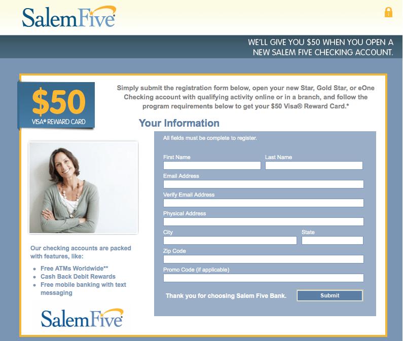 Salem Five Bank 50 Checking Account Bonus