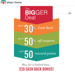 ShopAtHome.com Cash Rebate Shopping Network $10 Sign-Up Bonus