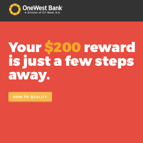 OneWest Bank Checking Account Reward Offer