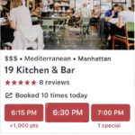 OpenTable Dining Reservation Points