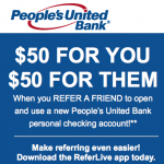 People's United Bank $50 Personal Checking Referral Bonuses for Both Parties