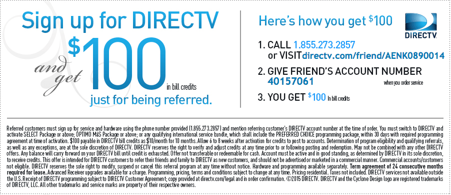 DIRECTV Refer A Friend Coupon Card