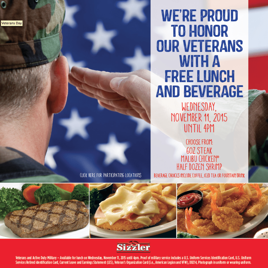 Sizzler Veterans Day Free Lunch