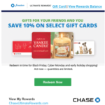 Chase Ultimate Rewards 10% Off Points Redemption Sale on Gift Cards