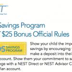 NEST $25 Bonuses for Nebraska's 529 Direct College Savings Plan