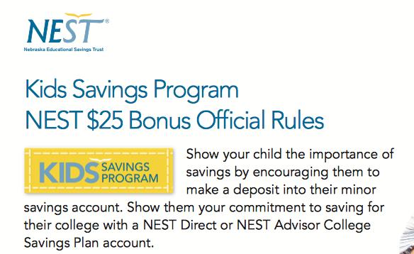 NEST Kids Savings Program Bonus Promotion