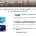 Chase Freedom 10% Back on Car Rentals and Hotels Booked through Ultimate Rewards