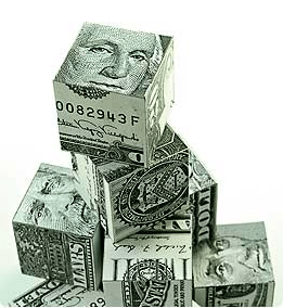Money Dollar Bill Cubes Stacked