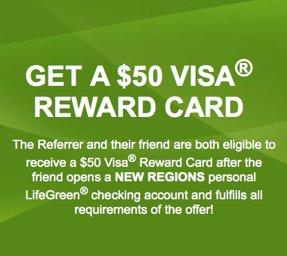Regions Bank LifeGreen Checking Account Bonus