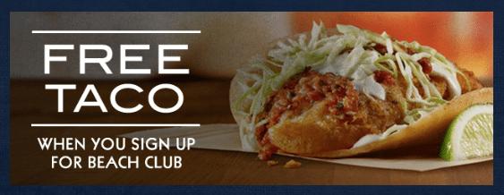 Rubios Coastal Grill Free Taco Beach Club