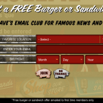 Get a Free Burger or Sandwich to Join Famous Dave's Email Club