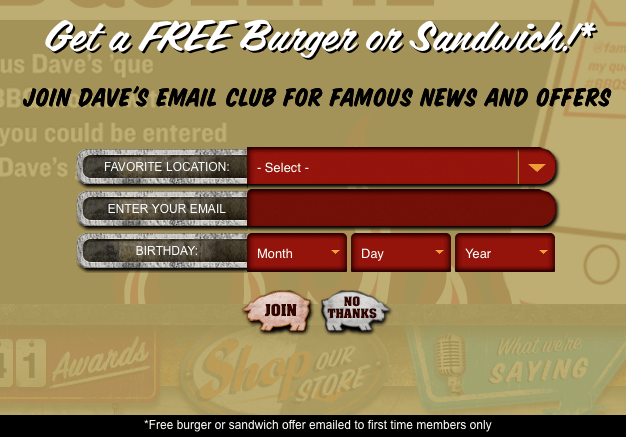 Famous Daves Email Club Free Burger