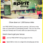 Free Spirit Dining Program Bonus Miles