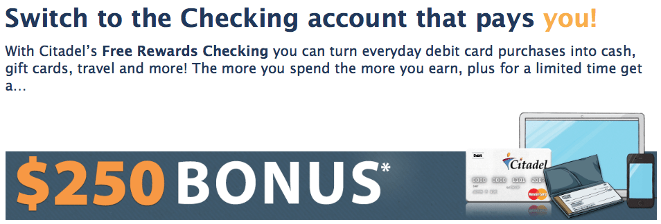 Citadel Credit Union 250 Checking Account Bonus