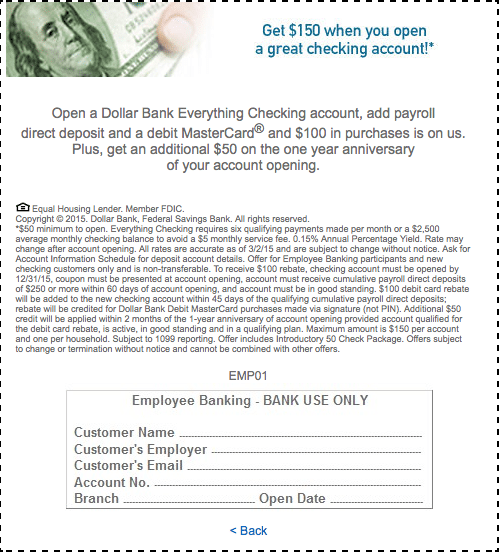 Dollar Bank Checking Account Bonus Coupon