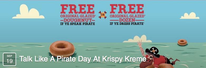 Krispy Kreme Free Doughnut Talk Like A Pirate Day