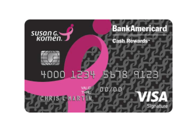 Susan G. Komen Pink Ribbon BankAmericard Cash Rewards Card $150 Bonus