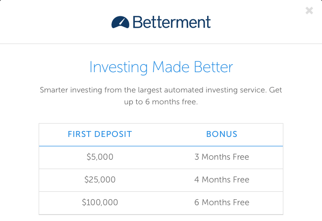 Betterment Investing Account Promotion