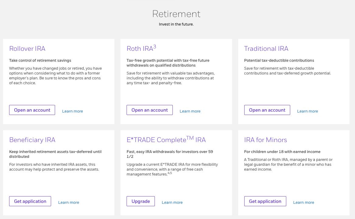 ETRADE Retirement Account Options