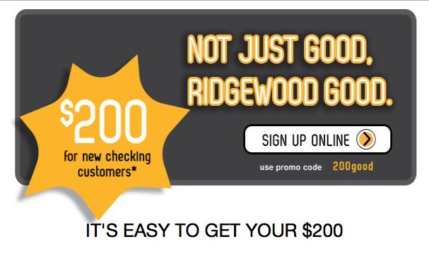 Ridgewood Savings Bank Checking Account Bonus