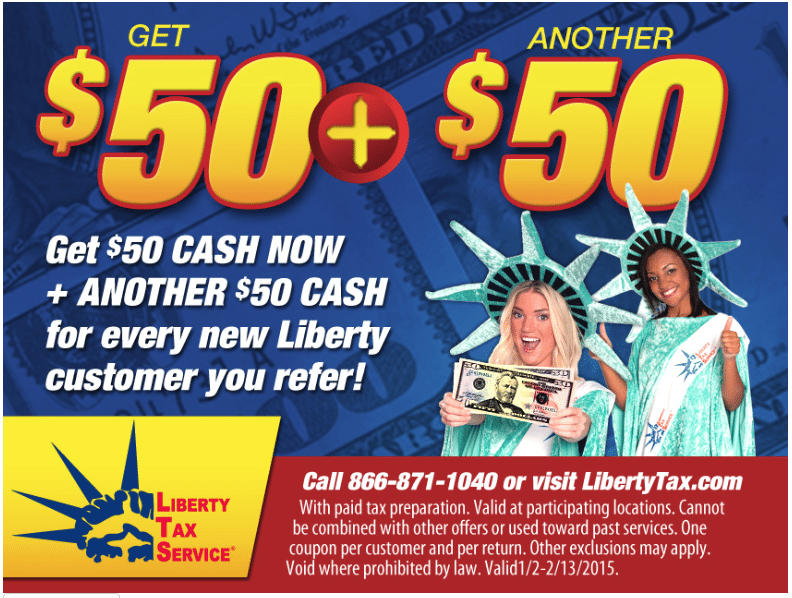 Liberty Tax Service $50 Cash Reward and $50 Referral Bonus
