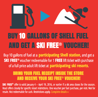 Ski Free Deals Shell Gas Stations 1 Free Lift Ticket Promotion
