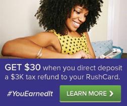 RushCard Prepaid Card $30 Bonus Direct Deposit Tax Refund