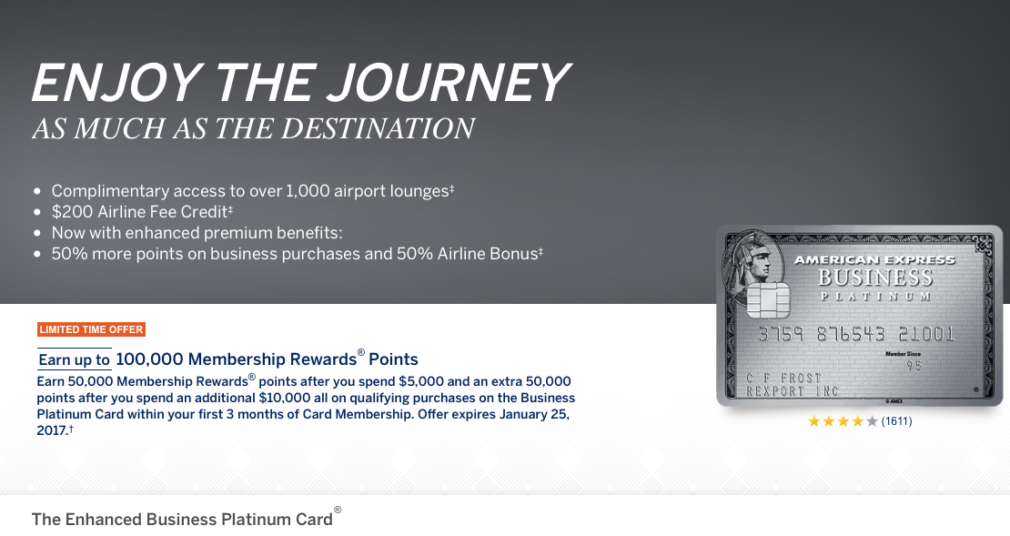Enhanced Business Platinum Card 100000 bonus points