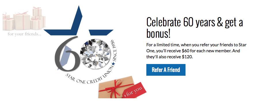Star One Credit Union Referral Bonus