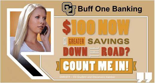 Elevations Credit Union Buff One Student Banking Bonus