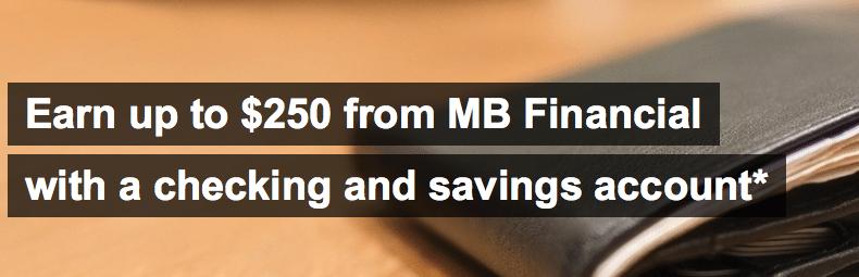 MB Financial Bank 250 Personal Checking Account Bonus