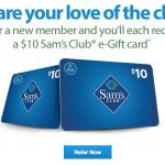 Sam's Club Referral Program $10 eGift Card Bonus for Both Members