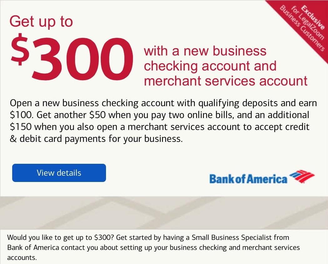 Bank of America LegalZoom Business Customers Bonus