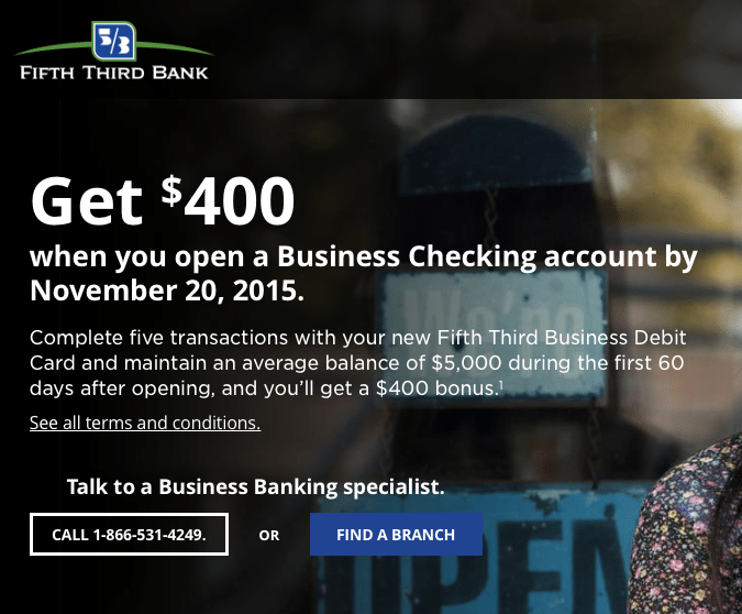 Fifth Third Bank Business Checking Promotion