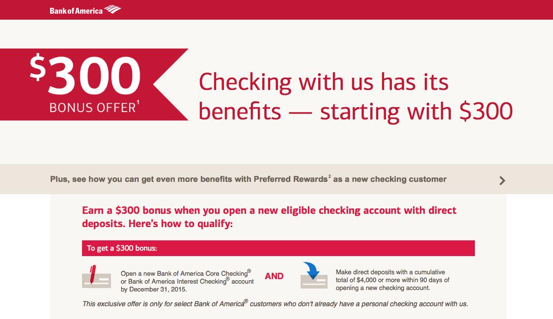 Bank of America 300 Checking Account Bonus