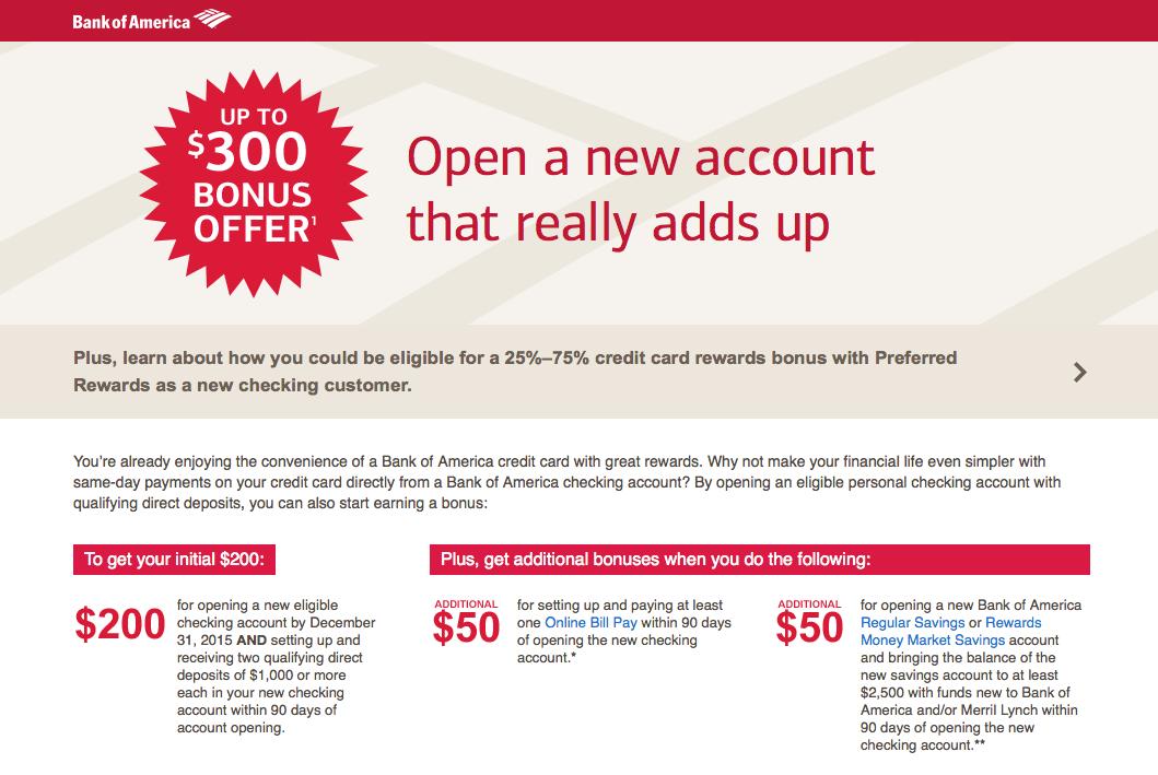 Bank of America Personal Checking Account 300 Bonus
