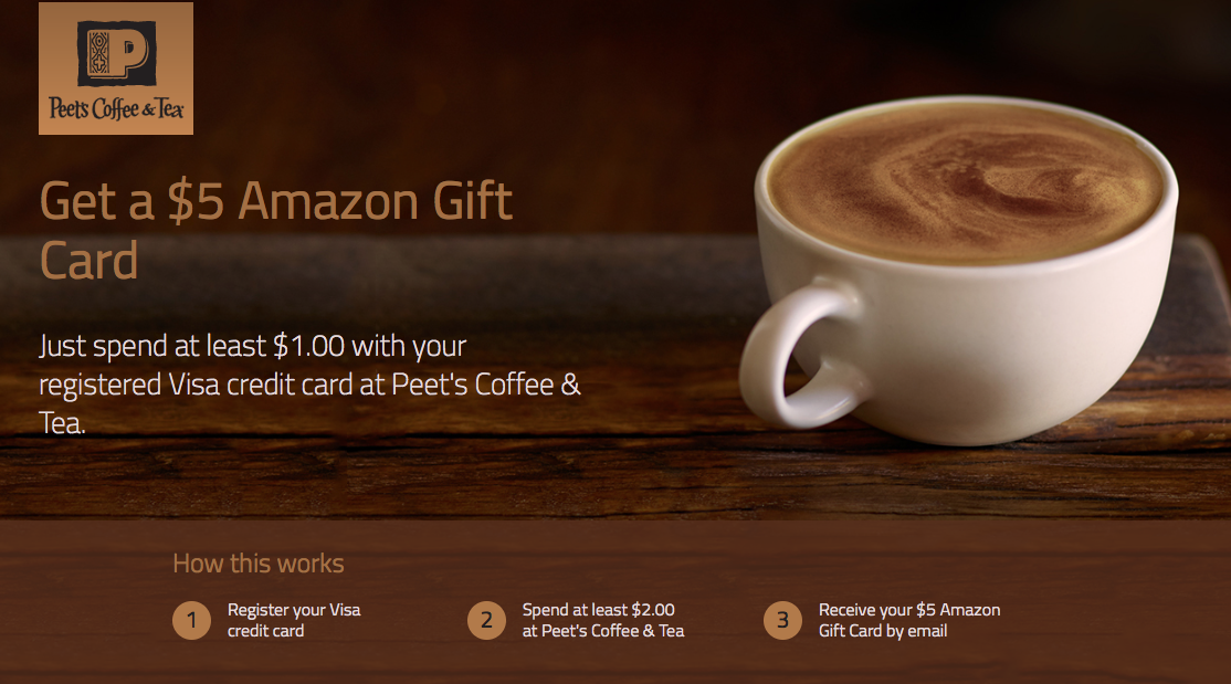 $5 Amazon Gift Card to Spend $1 at Peet's Coffee & Tea