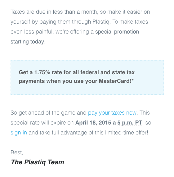 Plastiq Federal and State Tax Payments