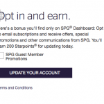 Starwood Preferred Guest 200 Starpoints Bonus for Email Subscription