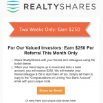 RealtyShares Real Estate Crowdfunding $150 Referral Bonus