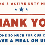 Applebee's Free Meal for Veterans and Active Duty Military on November 11, 2016