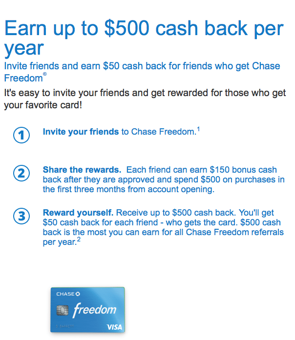 Chase Freedom Card Referral Bonus