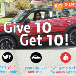 JustShareIt Car Sharing Marketplace 10% Discount and $10 Referral Credits