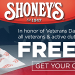 Shoney's Veterans Day Free All-American Burger for Veterans and Active Duty Military