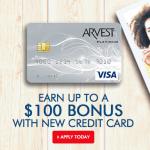 Arvest Bank Rewards Credit Card $100 Bonus Offer in AR, MO, OK and KS