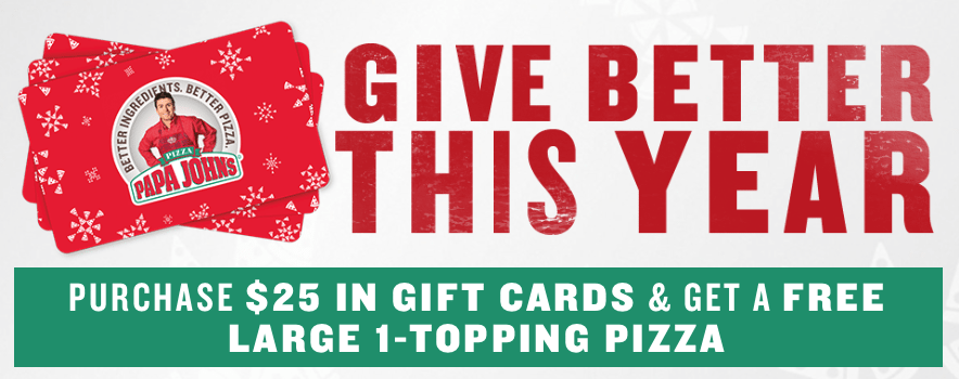 Papa Johns Gift Card Free Pizza Offer
