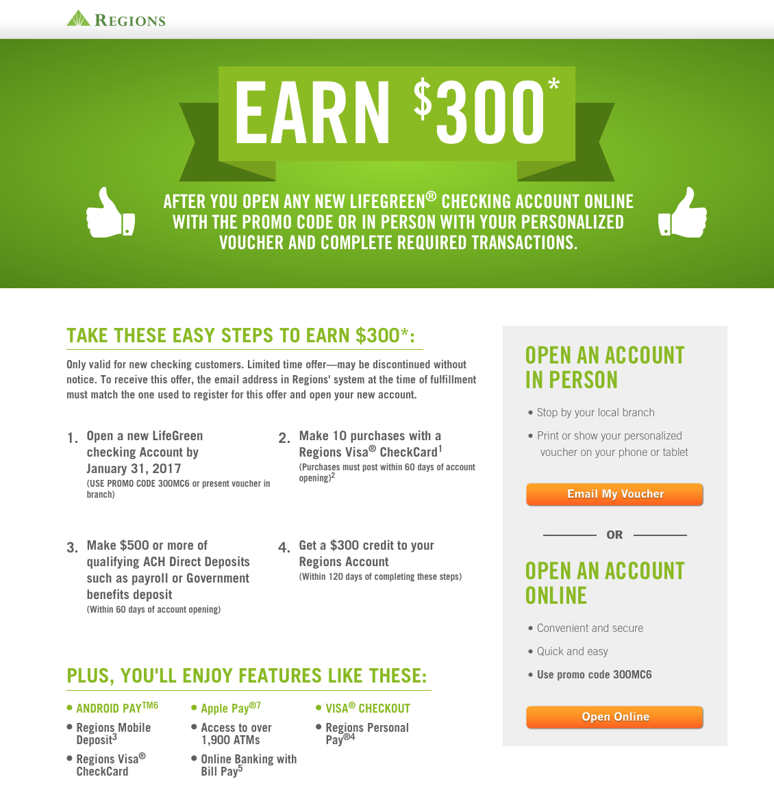 Regions Bank 300 LifeGreen Checking Bonus